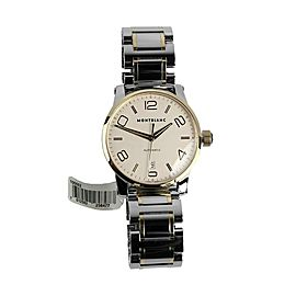 MONTBLANC TIMEWALKER 39mm SILVER DIAL STEEL ,18K GOLD AUTOMATIC WATCH 106502 NEW
