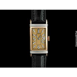 1937 ELGIN Vintage Art Deco Mens 14K Rose & White Gold & Diamond Watch - Mint
