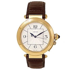Cartier Pasha 18k Yellow Gold Leather Automatic Silver Men's Watch W3018651