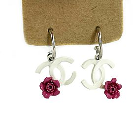 Chanel - Vintage Silver - White Enamel CC Logo Magenta Floral Dangling Earrings
