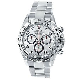 Rolex Daytona 18k White Gold Oyster Automatic Silver Men's Watch 116509