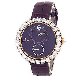 Corum Heritage Eleganza 18k Rose Gold Diamonds Purple Ladies Watch Z254/03647
