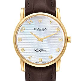 Rolex Cellini Classic Yellow Gold Mother of Pearl Dial Mens Watch 5116