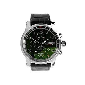 MONTBLANC TIMEWALKER STEEL 43mm AUTOMATIC CHRONOVOYAGER UTC WATCH 107336 SCRATCH