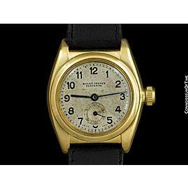 1931 ROLEX Vintage Mens Bubbleback 18K Gold Watch
