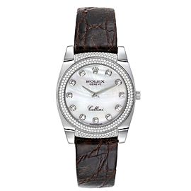 Rolex Cellini Cestello 18K White Gold MOP Diamond Ladies Watch 6321