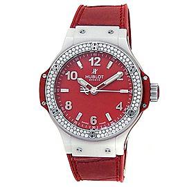 Hublot Big Bang Ceramic Rubber Diamonds Red Ladies Watch 361.HR.8510.LR.1104