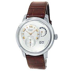 Glashutte Original PanoMaticReserve 18k White Gold Silver Watch 90-03-31-14-05