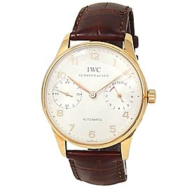 IWC Portuguese 7 Days Power Reserve 18k Rose Gold Leather Silver Watch IW500004