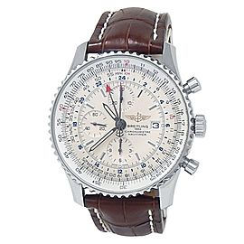 Breitling Navitimer World Stainless Steel Leather Auto Silver Mens Watch A24322
