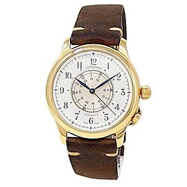 Longines Weems 18k Yellow Gold Leather Auto White Silver Men's Watch L2.605.6