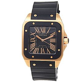 Cartier Santos 100 XL 18k Rose Gold Black Rubber Auto Black Men's Watch W20124U2