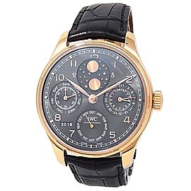 IWC Portugieser Perpetual Calendar 18k Rose Gold Leather Grey Watch IW503404