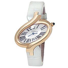 Cartier Delices de Cartier 18k Rose Gold Leather Quartz Silver Ladies Watch 3379