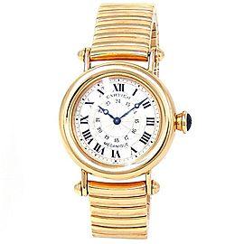 Cartier Diabolo 18k Yellow Gold Manual Silver Ladies Watch 1460