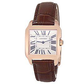 Cartier Santos Dumont 18k Rose Gold Leather Quartz Silver Ladies Watch W2009251