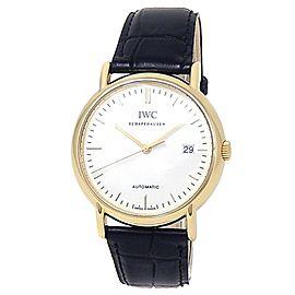 IWC Portofino 18k Yellow Gold Black Leather Automatic White Men's Watch IW353314