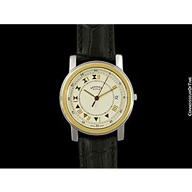 HERMES Carrick Mens Full Size Stainless Steel & 18K Gold Watch,