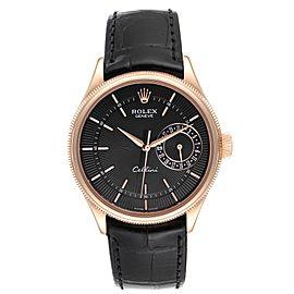 Rolex Cellini Date Everose Gold Black Dial Automatic Mens Watch 50515