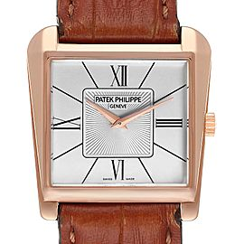 Patek Philippe Gondolo Trapeze Rose Gold Silver Dial Mens Watch 5489