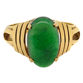 20K Yellow Gold Jadeite Jade Ring Size 9