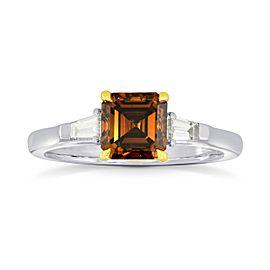 Leibish 18K White and Rose Gold 1.50ct Fancy Dark Orange Brown Diamond Ring Size 6