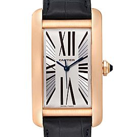 Cartier Tank Americaine Silver Dial Rose Gold Automatic Mens Watch 2505