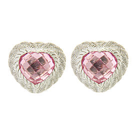 Judith Ripka 925 Sterling Silver with Pink Crystal Heart Earrings