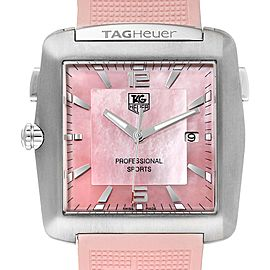 Tag Heuer Monaco Pink Mother of Pearl Rubber Ladies Watch