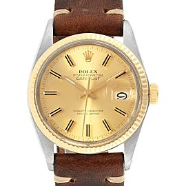 Rolex Datejust Steel Yellow Gold Brown Strap Vintage Mens Watch 16013