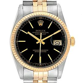 Rolex Datejust Steel Yellow Gold Black Dial Vintage Mens Watch 16013