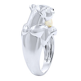 Cartier 18K White Gold Cultured Pearl, Diamond Ring