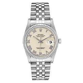 Rolex Datejust 36 Steel White Gold Fluted Bezel Ivory Dial Mens Watch 16234