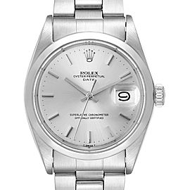 Rolex Date Stainless Steel Silver Dial Vintage Mens Watch