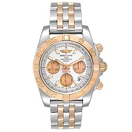 Breitling Chronomat 41 Steel Rose Gold Silver Dial Watch CB0140 Box Papers