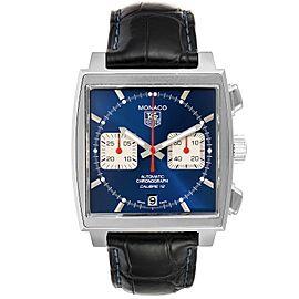 Tag Heuer Monaco Calibre 12 Blue Dial Black Strap Mens Watch CAW2111