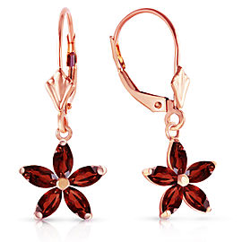 14K Solid Rose Gold Leverback Earrings with Natural Garnet