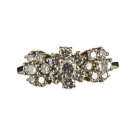 18K Yellow Gold Diamond Cluster Ring Size 10.5