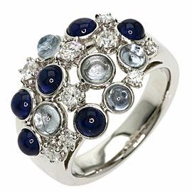 TASAKI 18K White Gold Sapphire Aquamarine Diamond Ring TNN-2037