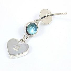 Gucci Sterling Silver Blue Topaz Heart Pierced Earring CHAT-154