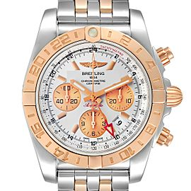 Breitling Chronomat Evolution 44 GMT Steel Rose Gold Mens Watch CB0420 Box