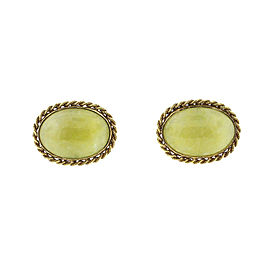 14K Yellow Gold Jade Cufflinks