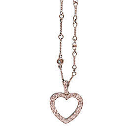 Tiffany & Co. Platinum Diamond Heart Twist Chain Pendant Necklace
