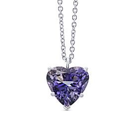 Leibish 18K White Gold with 3.70ct Tanzanite Pendant Necklace