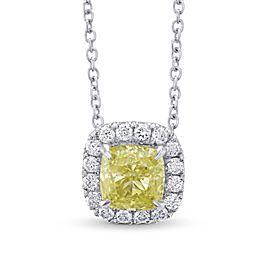 Leibish 18K White Gold with 0.90ctw Diamond Halo Pendant Necklace