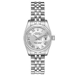 Rolex Datejust Steel White Gold Rhodium Roman Dial Ladies Watch 179174