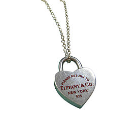 Tiffany & Co. 925 Sterling Silver Heart Lock Red Enamel Charm Pendant Necklace