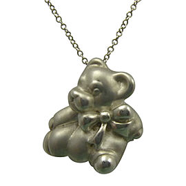 Tiffany & Co. Sterling Silver Teddy Bear & Bow Ribbon Pendant Chain Necklace