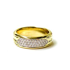 David Yurman 18K Yellow Gold and Diamond Ring Size 10.50
