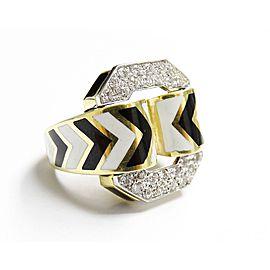 David Webb 18K Yellow Gold Platinum Diamond Zebra Enamel Ring Size 6